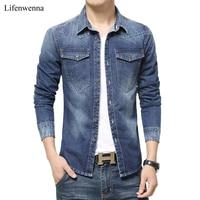 2015 New Autumn Fashion Brand Men Jeans Shirt Solid Color Slim Fit Long Sleeve Denim Shirt