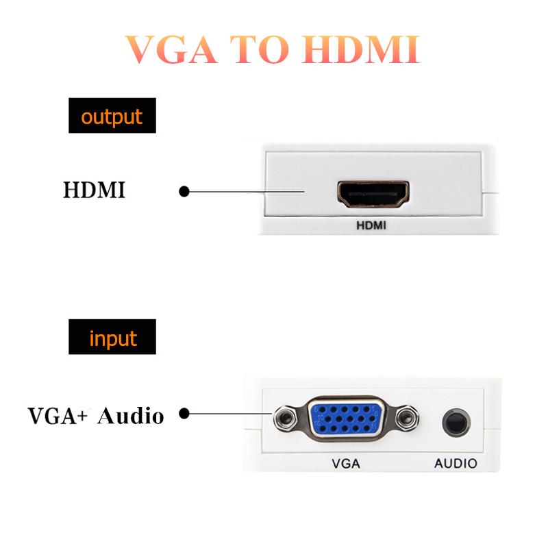 HTB1kWFsBv1TBuNjy0Fjq6yjyXXaB Rankman VGA Male to HDMI Female Converter with Audio Adapter Cables 1080P for HDTV Monitor Projector PC PS3