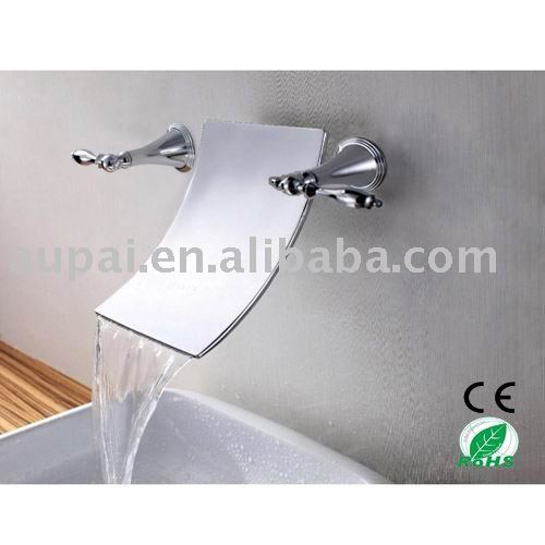 Free Shipping! Wall Mounted Bathroom Sink Faucet 3 Hole Double Handle Basin Mixer Taps (R-2001)