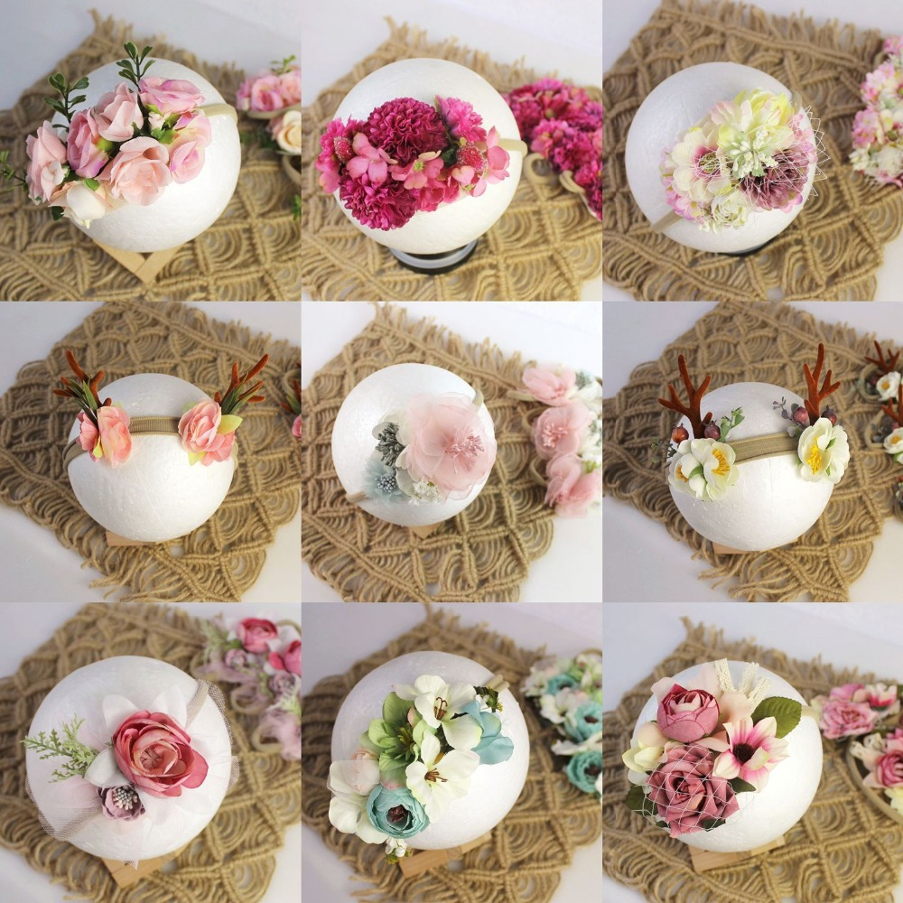 Newborn Photography Props Kids Flowers Headwear Baby Photo Props Accessories Hairbands Baby Girl Headbands Fotografia Baby Gift