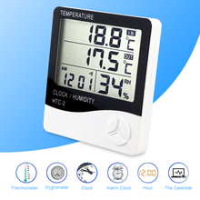 Digital LCD C/F Temperature Humidity Meter Indoor Outdoor Thermometer Hygrometer Alarm Clock With Retail Packaging