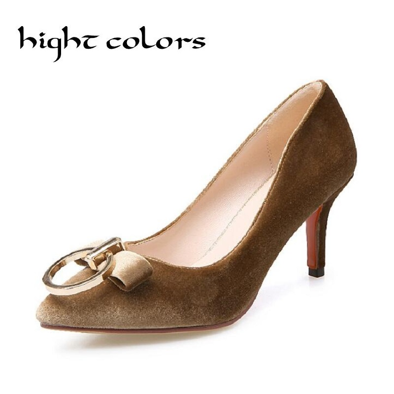 ФОТО 2017 Spring Fall Elegant Women Casual Shoes Slip On Pointed Toe Square Heel Suede Shoes With Bowtie 4 Color Size 34-43 Pumps