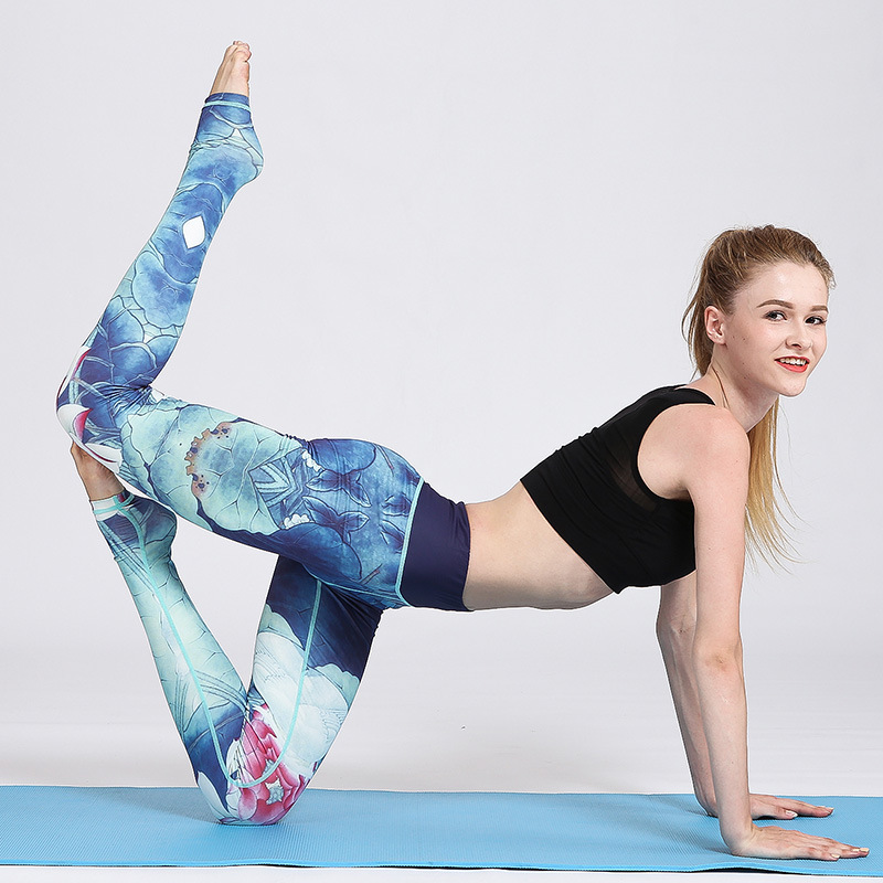 New sports fitness yoga clothes European and American professional brand ink printing Yoga trousers in Yoga Pants from Sports Entertainment