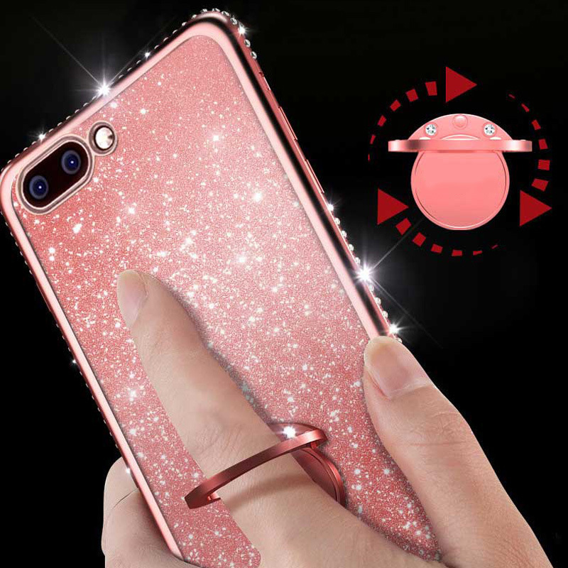Rhinestone Diamond Bling Soft TPU Case Cover sFor Samsung S10e S10+ Note 9 A6 A8 A7 2018 A750 Slim Phone Capa With Rotating Ring (2)