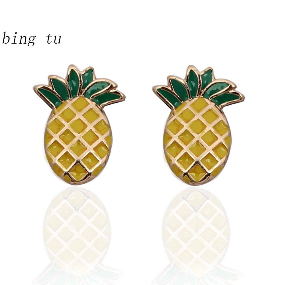 Bing Tu Unique New Yellow Fruit Pineapple Stud Earrings Women Simple  Earrings Fashion Jewelry Christmas Gift