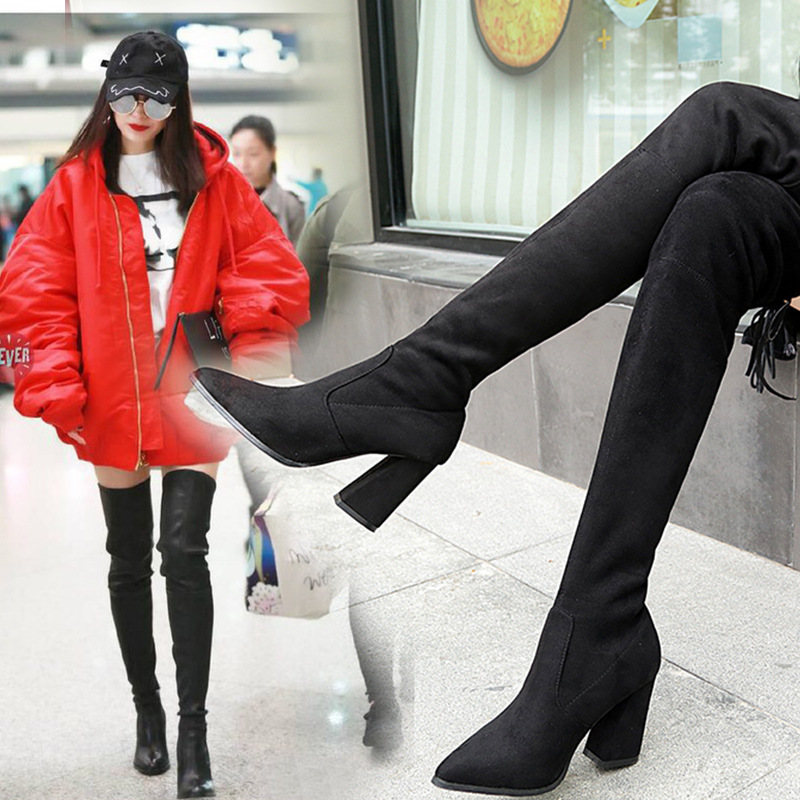 Autumn Winter Shoes Woman Boots 2017 Fashion Botas Mujer Pointed Toe High Heels Over The Knee Thight Boots Women's Shoes Black цены онлайн