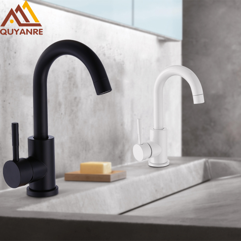 Quyanre Black white 304 stainless steel polished bathroom basin mixer dual sink rotatable basin faucet mixer