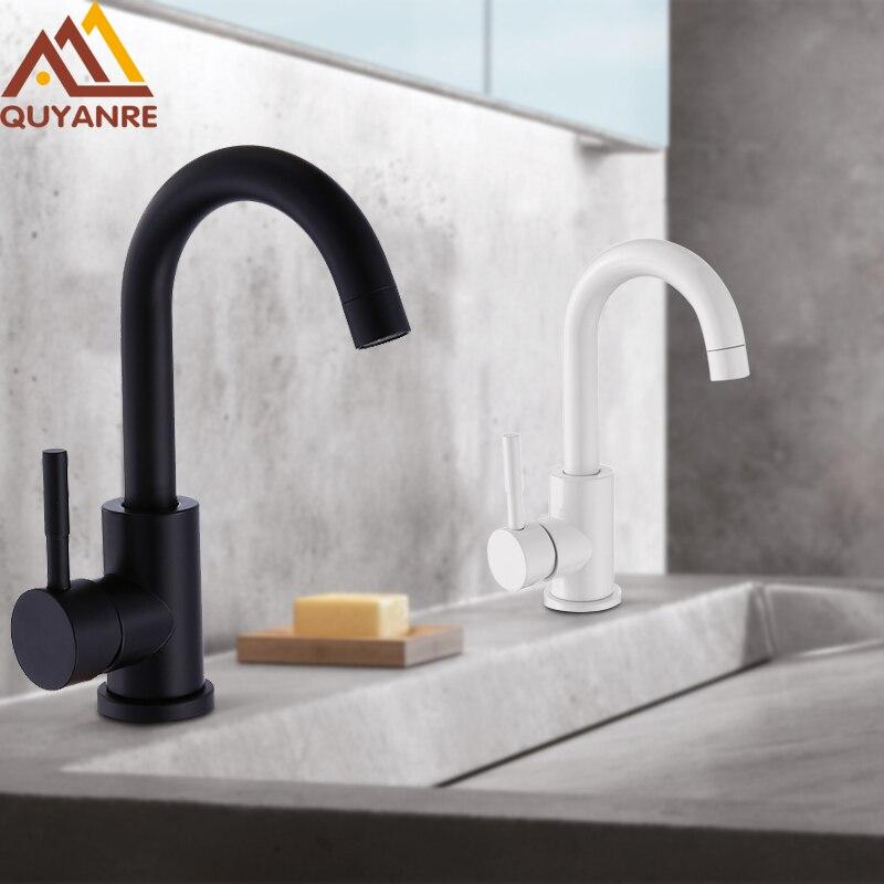 Quyanre Schwarz weiß 304 edelstahl poliert badezimmer basin mixer dual waschbecken drehbare becken wasserhahn mischer Torneira Banheiro