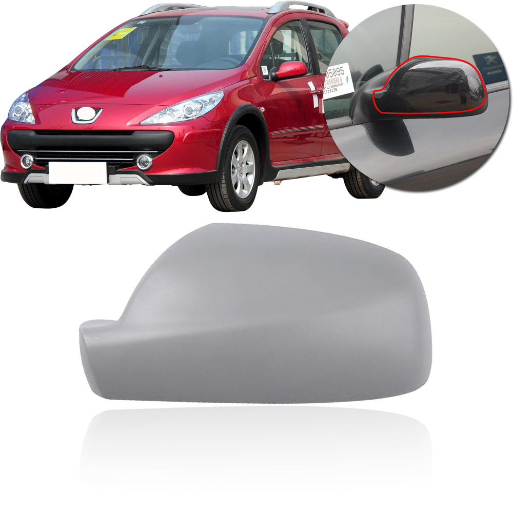 CAPQX For Peugeot 307 CC SW 407 2004-2012 Outside Rearview Mirror Cover Outer Rear View Mirror Cap Shell Housing