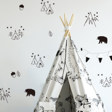 ФОТО funlife nordic style wall stickers nursery removable diy wall decal for kids bedroom bear deer animal art sticker fuuny decor