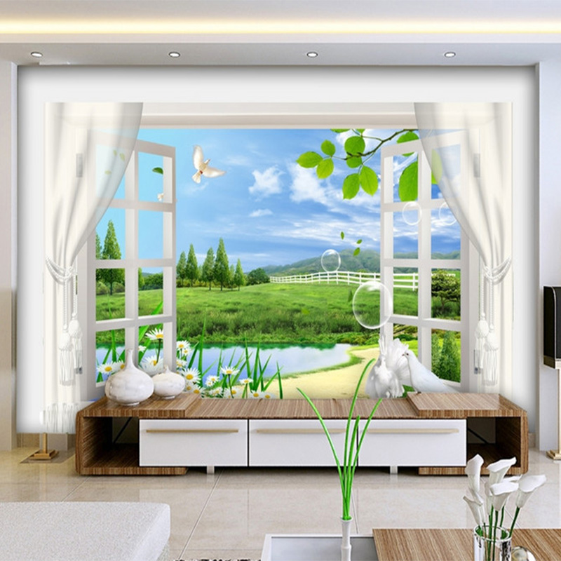 Latest 3D Wallpaper Outside The Window Curtain Butterfly Chrysanthemum  Nature Landscape Mural Living Room TV Backdrop Wall Paper In Wallpapers  From Home ... Part 45