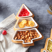 Creative Christmas tree fruit plate Ceramic Dish bamboo Tray fruit salad plate snack plate candy dessert plate tray