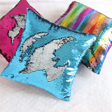 Reversible Sequin Mermaid Pillow Magical Color Changing Throw Cover Home Decor Cushion Decorative Pillowcase