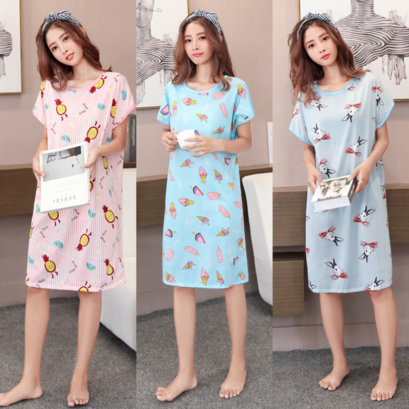 2019 New Women Short Sleeve Sleep Dress Lovely Cartoon Pattern   Nightgowns     Sleepshirt   Nightdress Polyester O Neck Oversized