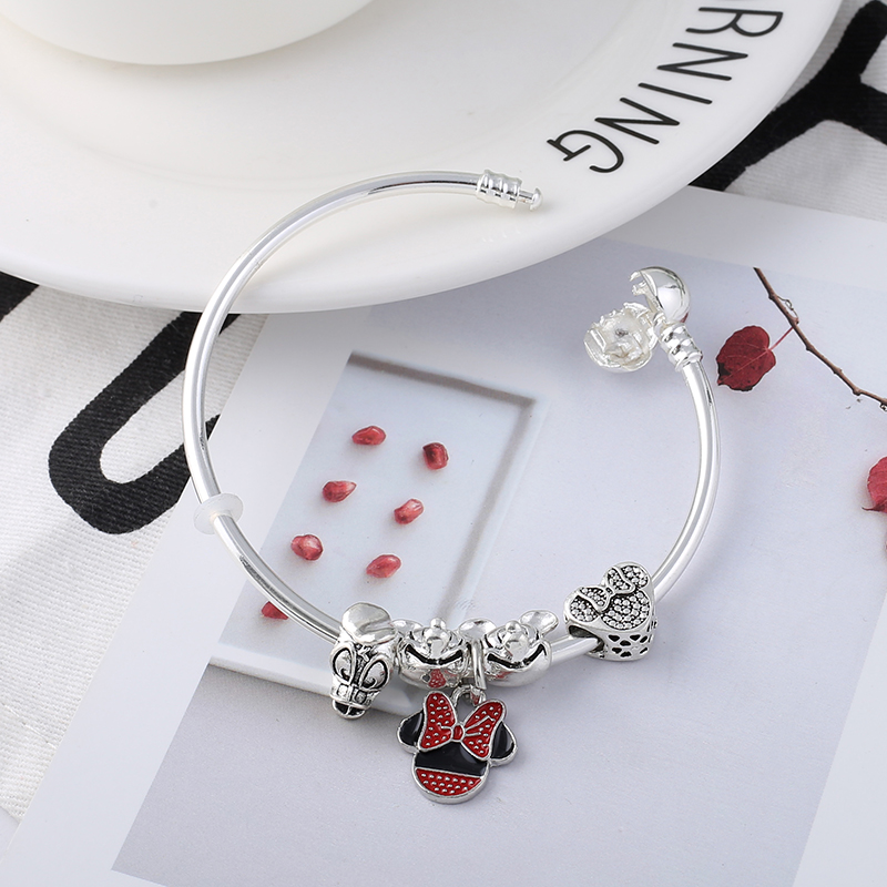 128a4bbe7 Βραχιόλια Βραχιόλια TOGORY Simple Mickey & Minnie Pendant Charms Bracelet & Bangles  For Women with Fine Bracelet For Kids Gift