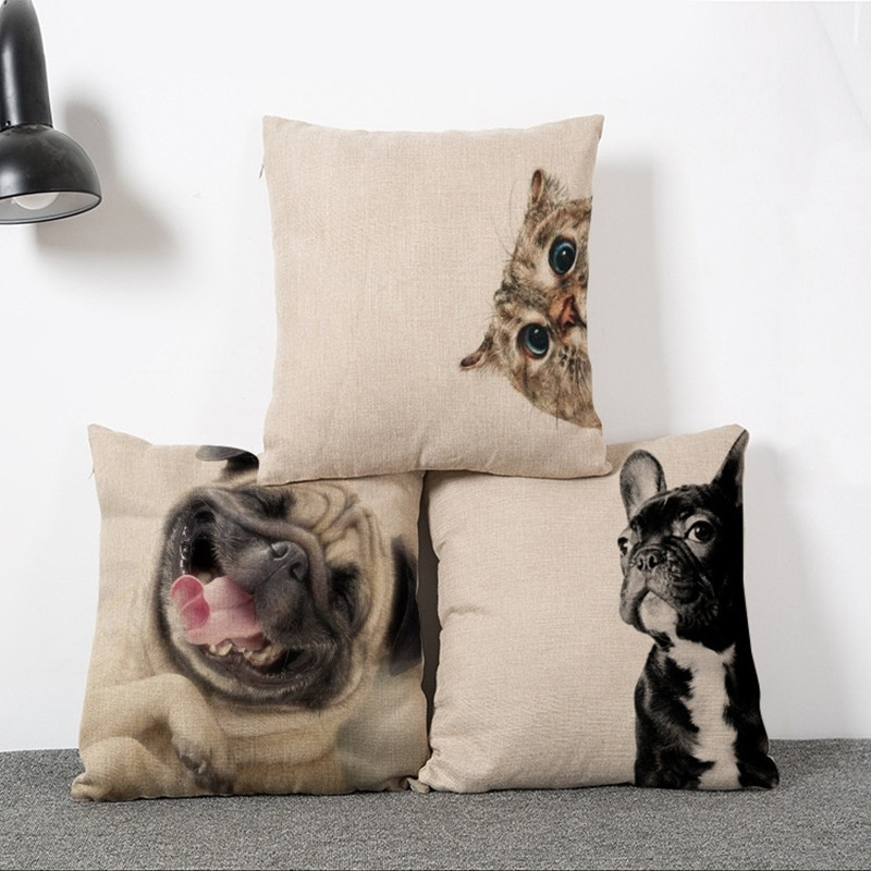 45x45cm Simple Casual Style Dog And Cat Pattern Cushion Cover Cotton Linen Pillow Cover Cushion Cover Pillow Case Home Decor ...