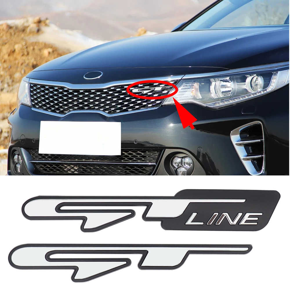 GT Line Logo Insignia Car Tuning Sticker Universal For KIA Optima K5 Stinger Proceed K3 Front Grill Trunk Trim Decals Decorative