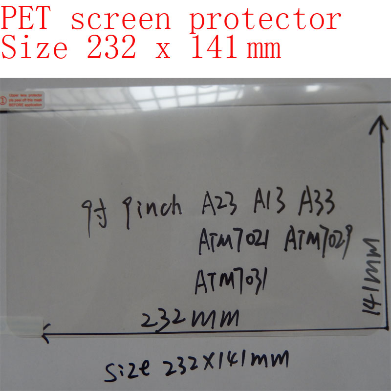 232x141mm PET Screen Protection Film For 9 Inch Allwinner A13/A23/A20/A33, Actions ATM7021/ATM7029 Tablet 9