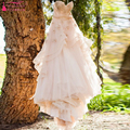 Champagne A Line Charming Wedding Dresses Bohemian With Lace and Flower Sweetheart Zipper Back Bridal Dresses   Z1067