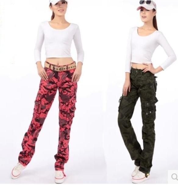 2016 Новый камуфляж женские брюки мульти карман брюки-карго женские брюки Военные Прямые комбинезоны женские брюки