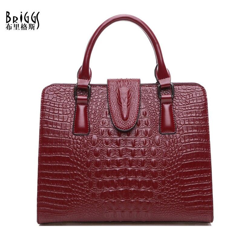 BRIGGS New Women Handbag Female Fashion Casual Tote Bag High Quality Genuine Leather Solid Shoulder Messenger Bags