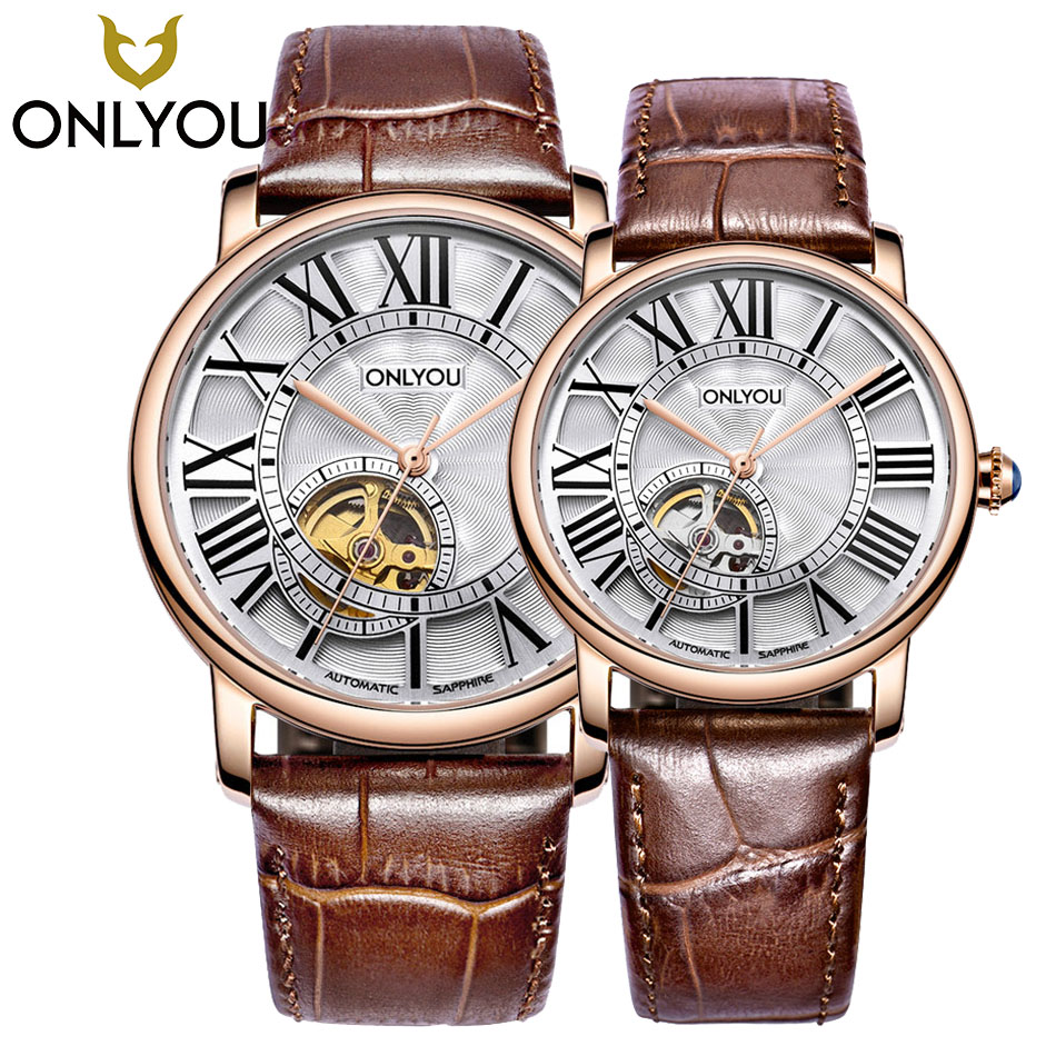 ONLYOU Automatic Mechanical Skeleton Steampunk Watch Couple Top Brand Luxury Black/Brown Leather Strap For Man Woman Watches mens mechanical watches top brand luxury watch fashion design black golden watches leather strap skeleton watch with gift box