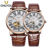 ONLYOU Automatic Mechanical Skeleton Steampunk Watch Couple Top Brand Luxury Black Brown Leather Strap For Man