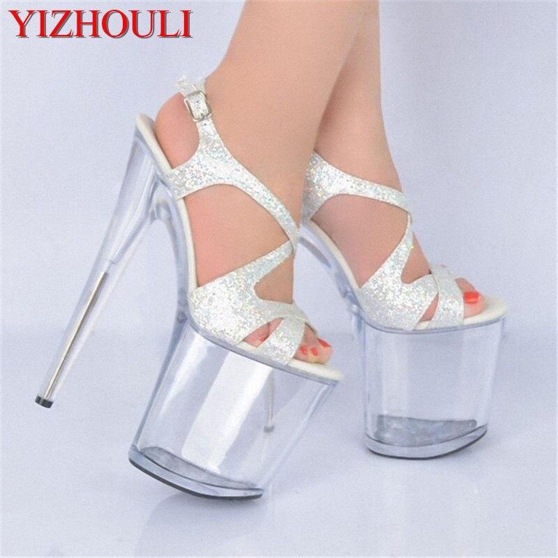 5fcd173f0d445 20cm Ultra high heels platform lady formal dress women s shoes fashion  sandals 8 inch silver rome