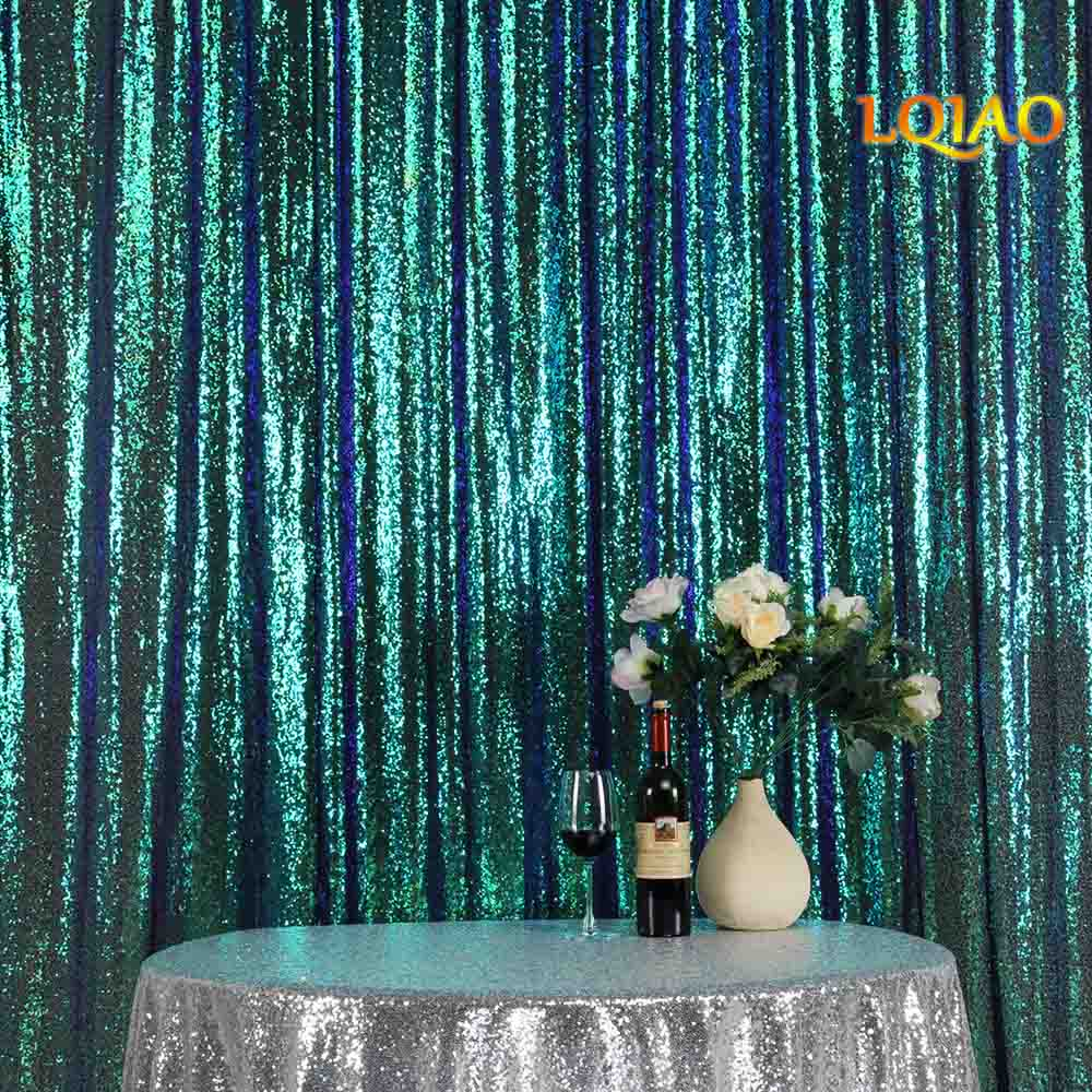 Green sequin Curtain Backdrop-004