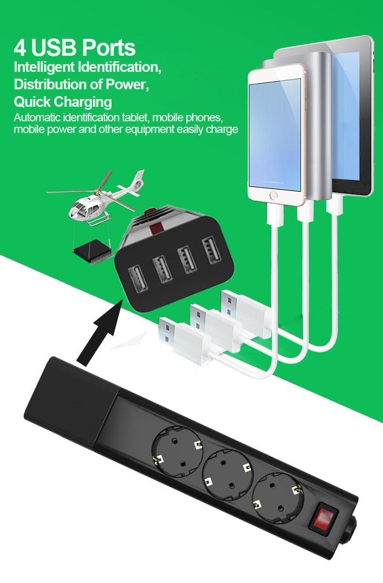 Bloc d'alimentation Eu avec prise électrique USB prise de rallonge de protection contre les surtensions de bureau à domicile
