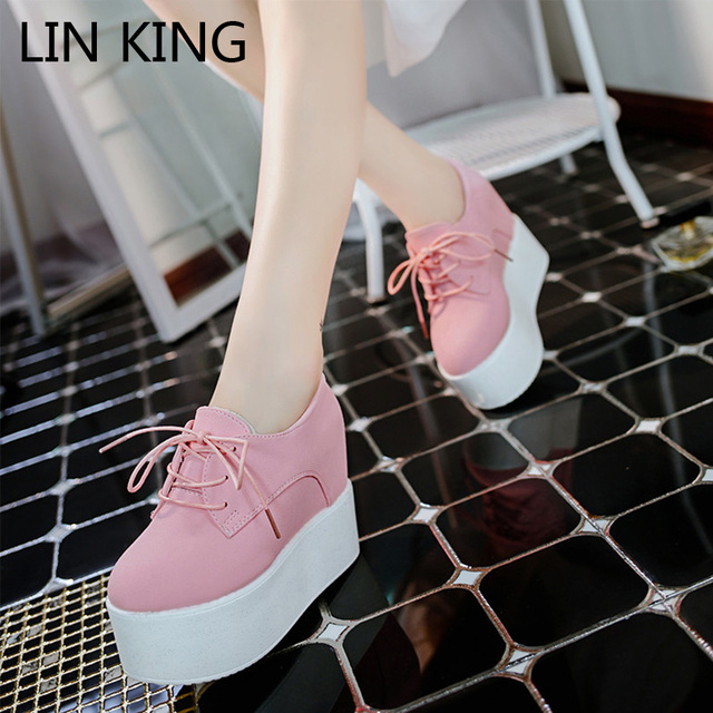 LIN KING Autumn Women Casuale Shoes Simple Flats Thick Sole Platform Height Increase Round Toe Lace Up Ankle Woman Short Shoes
