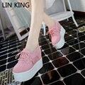 LIN REY Otoño Mujer Casuale Zapatos Simples Pisos Suela Gruesa plataforma Aumento de la Altura de Punta Redonda Lace Up Tobillo Mujer Corta zapatos