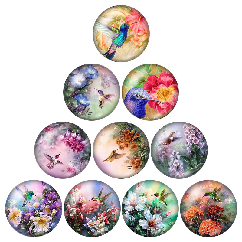 Fashion Butterfly dragonfly Birds Animals 10pcs 12mm/18mm/20mm/25mm Round photo glass cabochon demo flat back Making findings