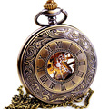 WOONUN Top Brand Luxury Steampunk Skeleton Mechanical Pocket Watch For Men Fashion Mechanical Clock Watch Roman Numeral Dial