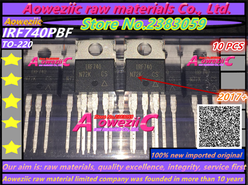 Aoweziic 2017+ 100% new imported original IRF740PBF IRF740 TO-220 Field effect transistor MOSFET 10A 400V цена