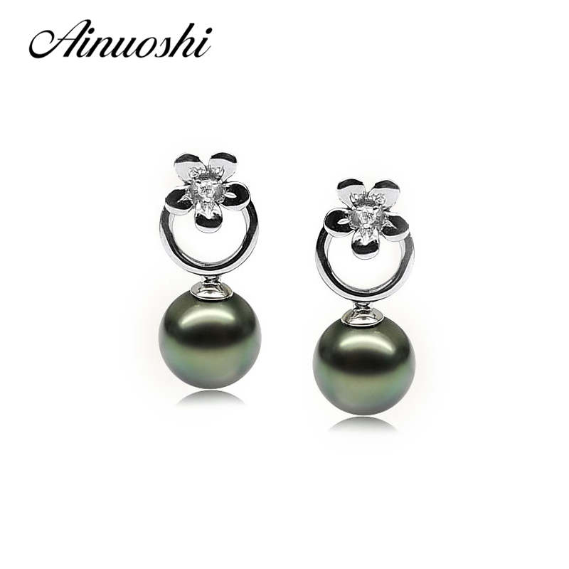 AINUOSHI 925 Sterling Silver Flower Shaped Pearl Earrings Natural South Sea Black Tahiti Pearl Round Pearl Drop Earrings Jewelry ainuoshi 925 sterling silver leaves shaped pearl earrings 9 5 10mm natural tahitian black pearl round pearl lover stud earrings