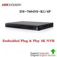 Оригинальный Hikvision 4CH PoE NVR DS 7604NI K1/4 P 4 канала Встроенный Plug & Play К 4 к NVR с 4 портами PoE для ip камеры системы видеонаблюдения