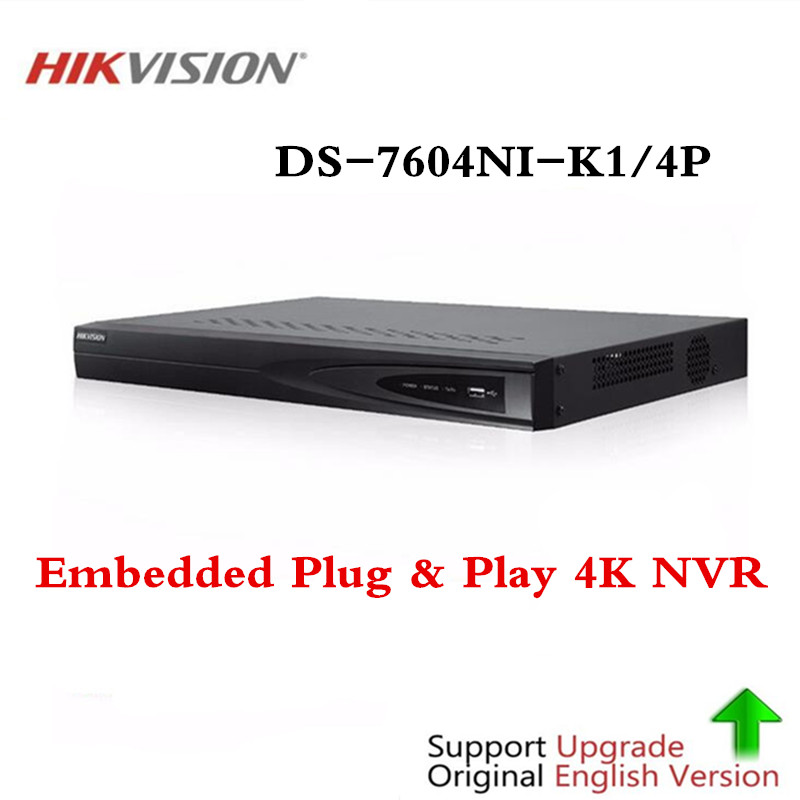 Original Hikvision 4CH PoE NVR DS-7604NI-K1/4P 4 Channel Embedded Plug Play 4K NVR with 4 PoE Ports for IP Camera CCTV System hikvision 1080p cctv system onvif 4ch nvr ds 7604ni e1 4p economic poe nvr plug