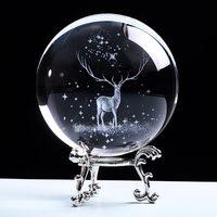 80mm cristal wapiti bola miniatura 3d laser gravado ornamento de vidro globo artesanato de cristal decorações para casa presente aniversário Bolas decorativas    -