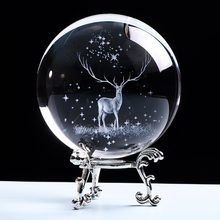 80mm Crystal Wapiti Ball Miniature 3D Laser Engraved Glass Ornament Globe Crystal Craft Decorations for Home Birthday Gift