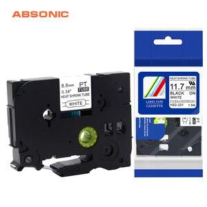 Absinic 10 шт. HSe-221 HSe221 8,8 мм черный на белом термоусадочной трубке этикетка лента для кабеля Mark провода волокна Brother PTE300 PTE550W