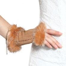 High Quality Ladies Sheepskin Suede Half Finger Leather Gloves Cute Rabbit Hair Warm Winter Female NW3863-A