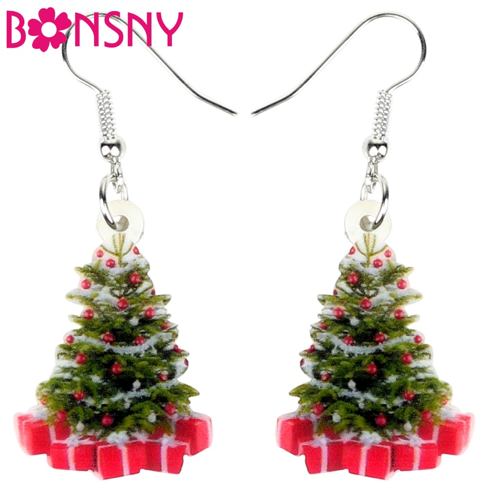 Bonsny Acrylic Christmas Tree Gift Earrings Drop Dangle Decoration Navidad Jewelry For Women Girls Teens Ornaments Accessories