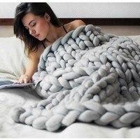 Weiche Dicke Linie Riesen Garn Gestrickten Decke Handmade Weben Fotografie Requisiten CrochetLlinen Decken Home Decor Sofa Decke