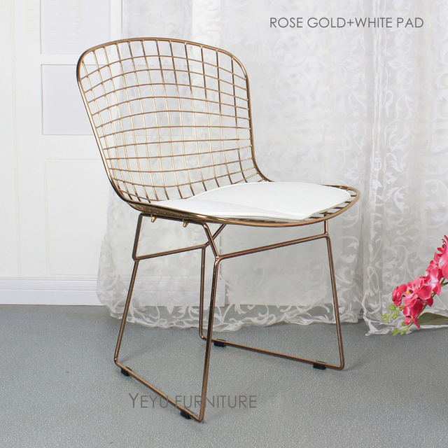 Rose Gold Or Gold Color Bertoia Wire Chair Modern Classic Wire Bertoia Chair Harry Bertoia metal & Rose Gold Or Gold Color Bertoia Wire Chair Modern Classic Wire ...