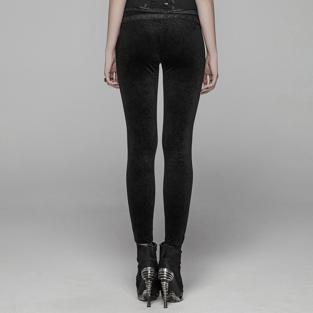 PUNK RAVE femmes gothique laçage Leggings mode Steampunk rétro velours crayon pantalon avec cuir Skinny pantalon - 3