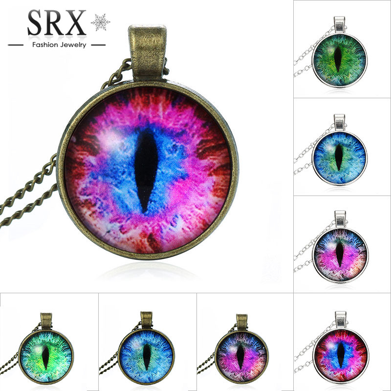 2016 Vintage Jewelry Wholesale Blue Green Cat Eye Necklace Pendant Fashion Charming Rhinestone Ethnic Necklace for Men Women