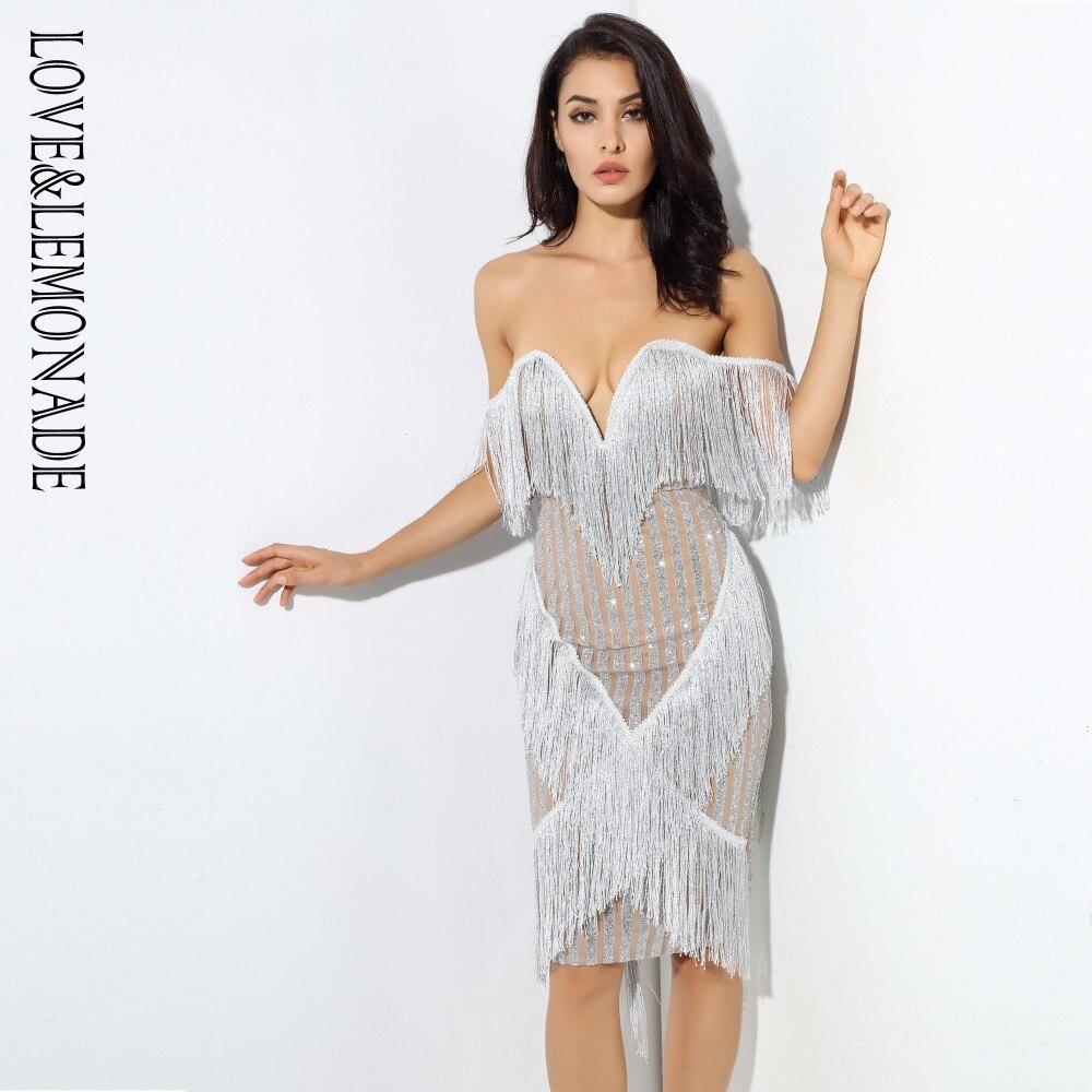 Love Lemonade Deep V Collar Tassel Stitching Striped Party Dress Silver Gold Black LM0379