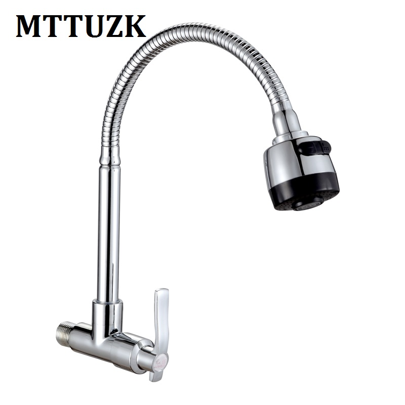 MTTUZK Brass Wall Mounted Universal water Kitchen Single Cold Faucet Single Hole Water Tap 360Rotated Kitchen