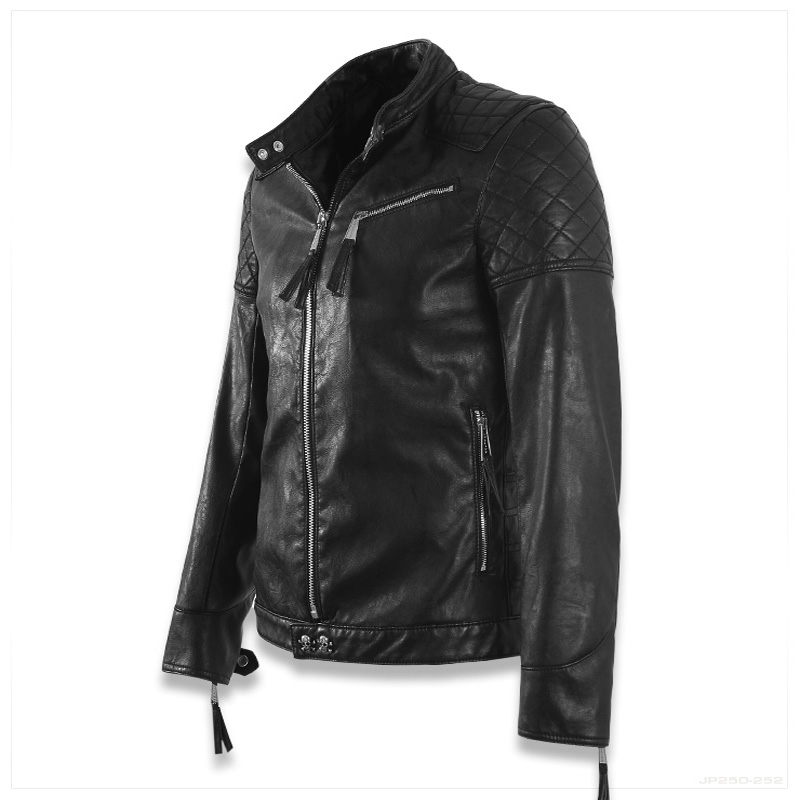 Hot ! High quality new Spring fashion leather jackets men, men's leather jacket brand motorcycle leather jackets skull M-5XL 3